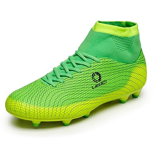 Leoci Botas de fútbol altas para niños, tacos AG, microfibra, color verde, talla 34 EU: Amazon.es: Zapatos y complementos