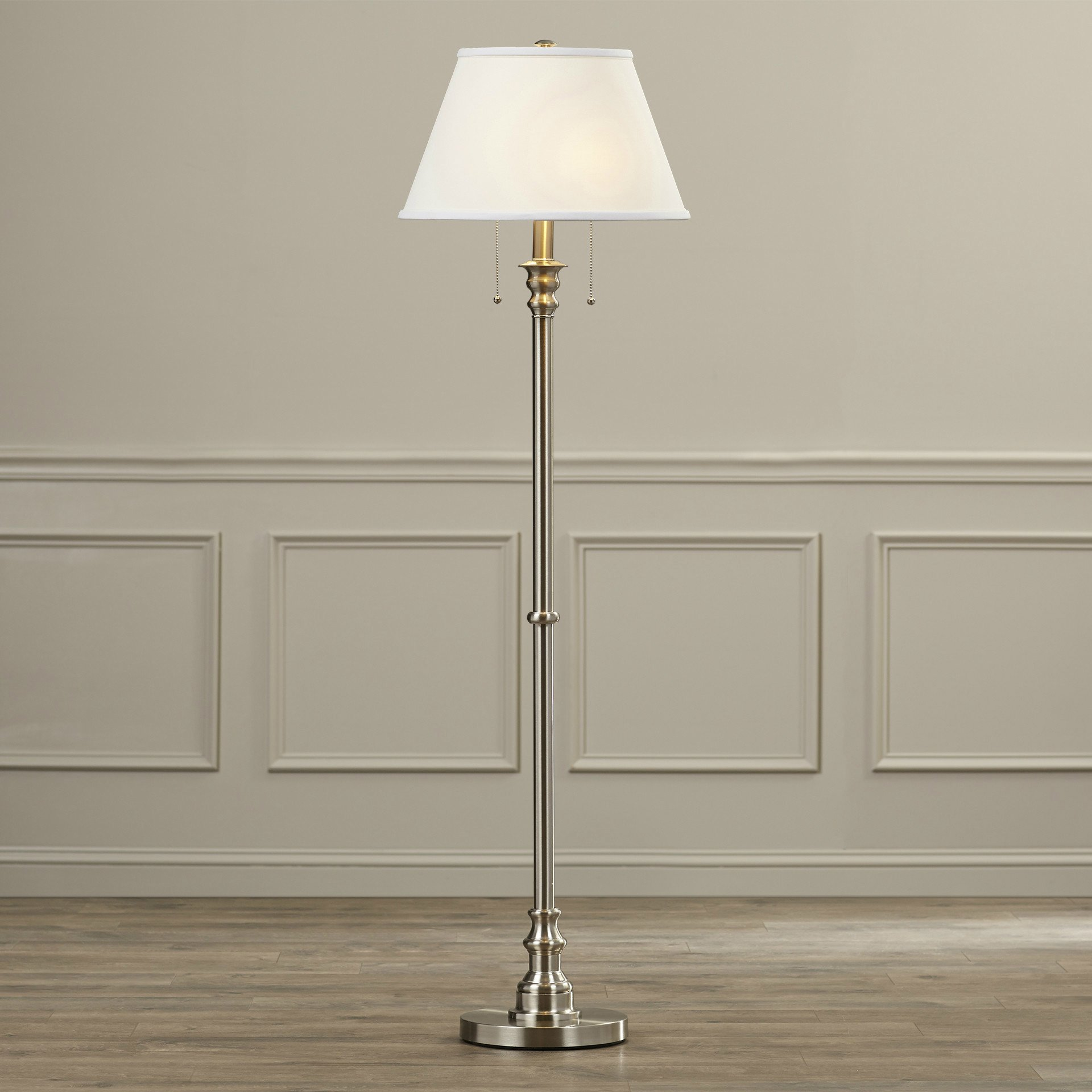 White Classic Empire Shade Floor Lamp with Pull Chain For Reading Corner - 59.5 Inch Tall, Brushed Steel Finish