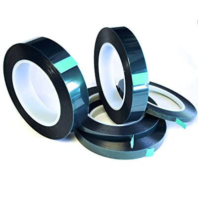 """5 Roll High Temp Masking Tape Kit for Powder Coating, Painting, Hydrodip, Sublimation - Green Polyester 1/4"""", 3/8"""", 1/2"""", 3/4"""" & 1"""": Automotive"""