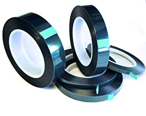 "5 Roll High Temp Masking Tape Kit for Powder Coating, Painting, Hydrodip, Sublimation - Green Polyester 1/4"", 3/8"", 1/2"", 3/4"" & 1"""