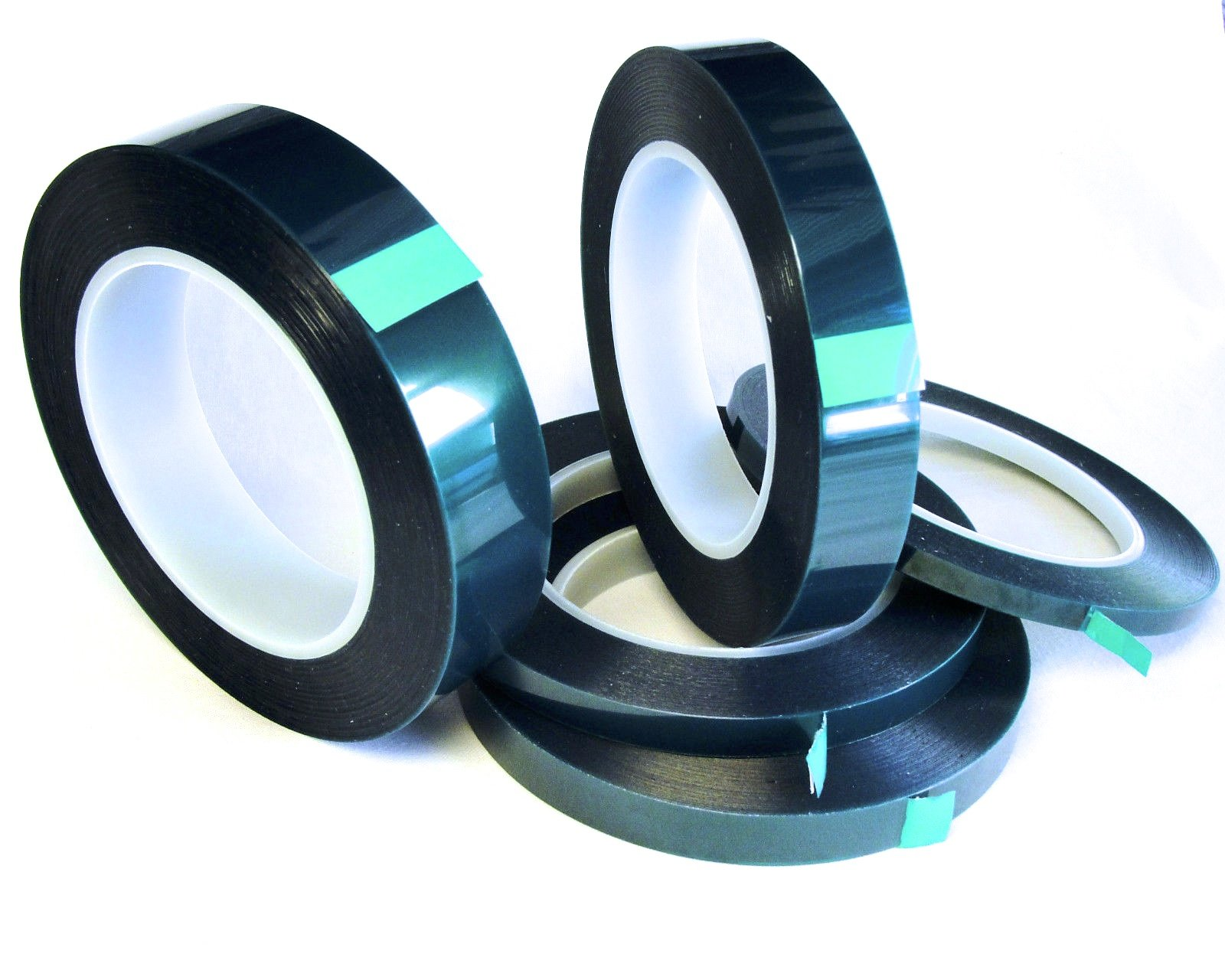 5 Roll High Temp Masking Tape Kit for Powder Coating, Painting, Hydrodip, Sublimation - Green Polyester 1/4'', 3/8'', 1/2'', 3/4'' & 1''