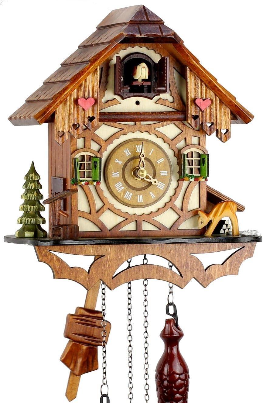 Reloj de cuco de la Selva Negra de madera auténtica con mecanismo de cuarzo con funcionamiento a pilas y sonido de cuco. Mecanismo musical, 24cm de Uhren-Park Eble - Eble -Fachwerkhaus
