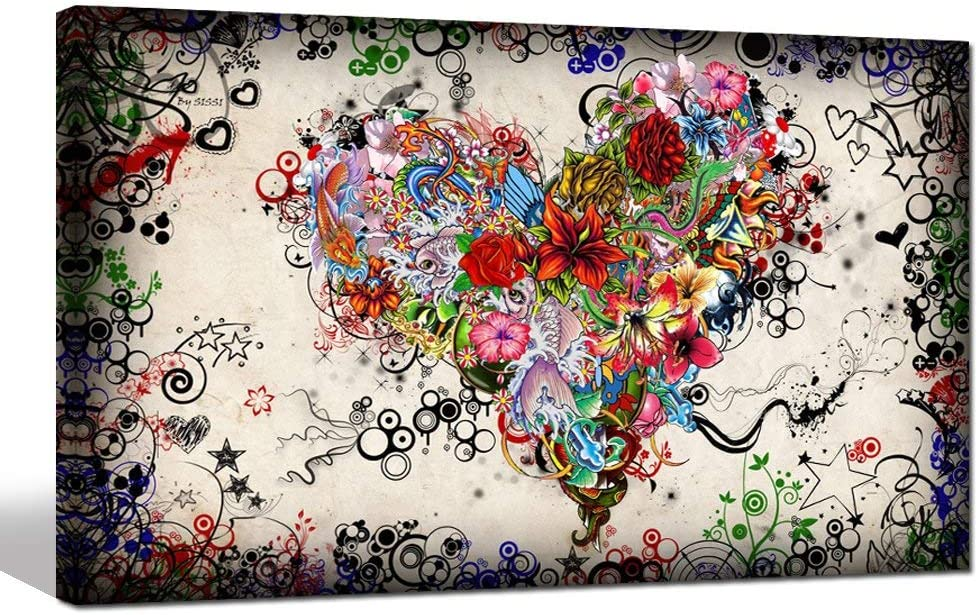 sechars - Modern Canvas Wall Art Love Heart Painting for Bedroom Living Room Decor Vintage Doodle Posters Framed Abstract Home Decoration (20x32inch)
