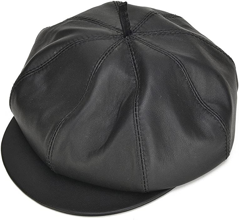 Roffatide Men Leather Newsboy Cap Beret Flat Eight Panel Ivy Gatsby  Painters Hat 58cm 8271d1baad89