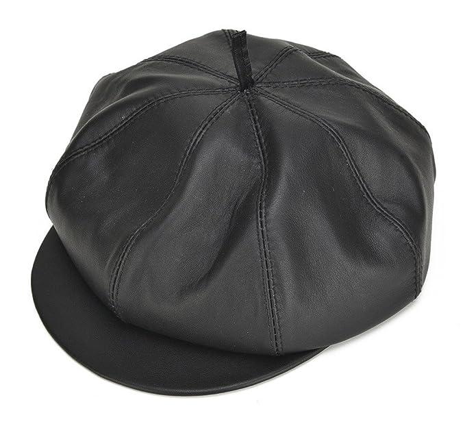Roffatide Boina de Cuero para Hombre Sombrero de Pintores Ocho Panel  Sombrero Plano  Amazon.es  Ropa y accesorios 2b85463ca01