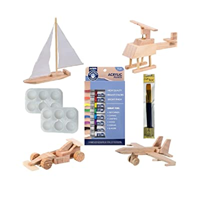Wood Model Building Craft Activity Kits for Kids : 4 Fun Woodshop Model Activity Projects Bundled with Artskills Acrylic Paint, 2Pc Crafters Square Brush Set, and 2 Art Palettes: Arts, Crafts & Sewing