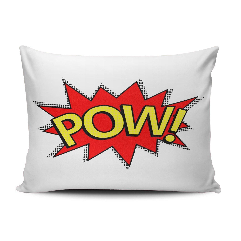 salleingカスタムファッションホーム装飾枕カバーレッドイエローPow 。Superhero Comic Book正方形枕カバークッションケース1つ両面印刷 12