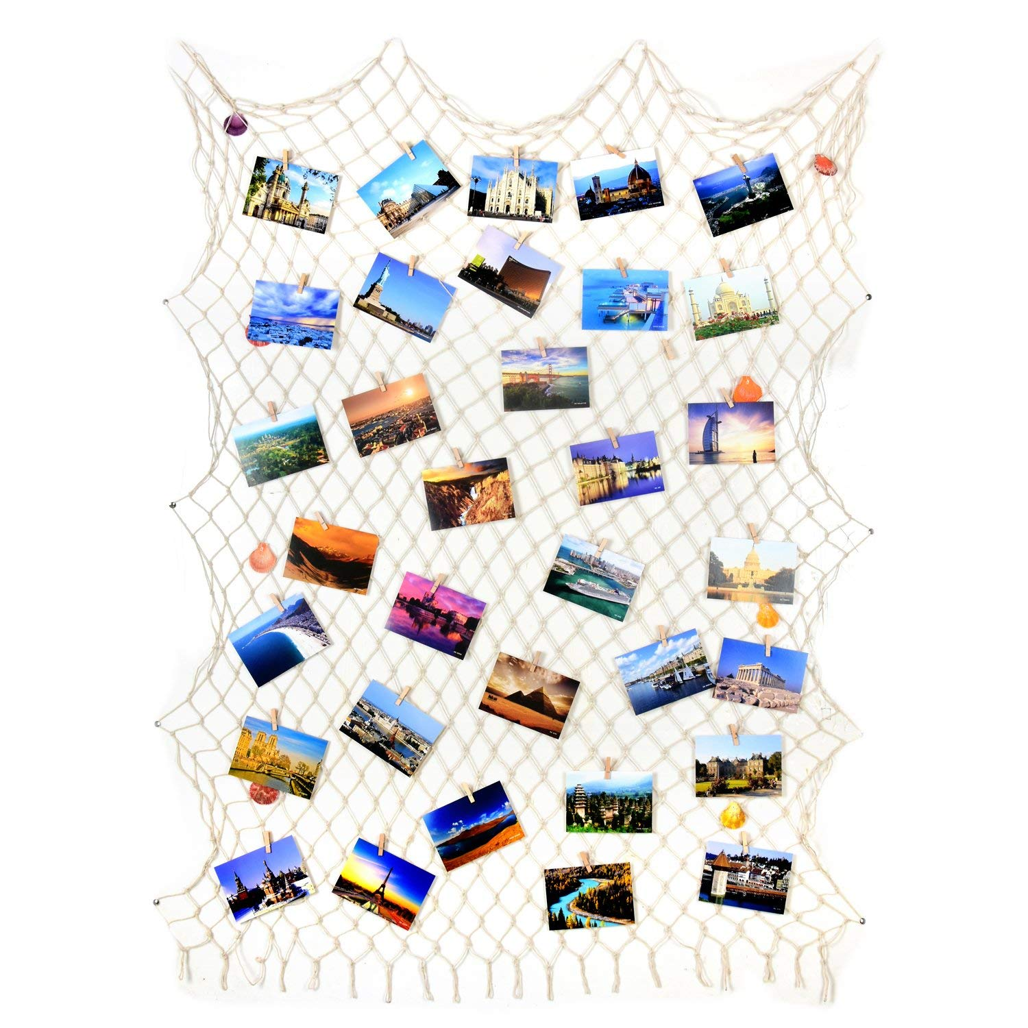 Seamersey Photo Hanging Display Frames Mediterranean Fishing Net Wall Decor with 25 Clips - Picture Frames & Prints Multi Photos Organizer & Collage Artworks(79''x40'',Beige)