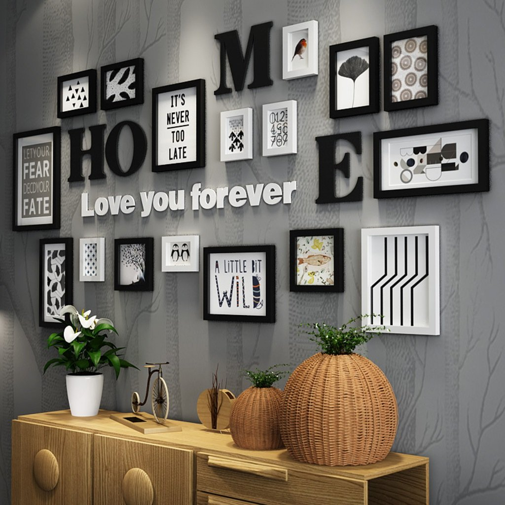 Photo frame collage Solid wood combination black and white classic frame living room creative background wall ornaments ( Color : Black and White )