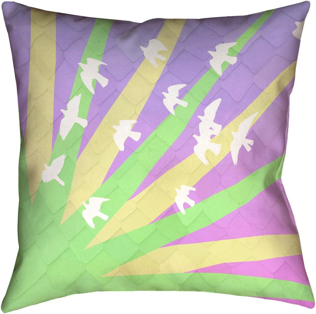 ArtVerse SMI016P1616H Birds Sun Green Yellow Purple Ombre Pillow, 16 x 16