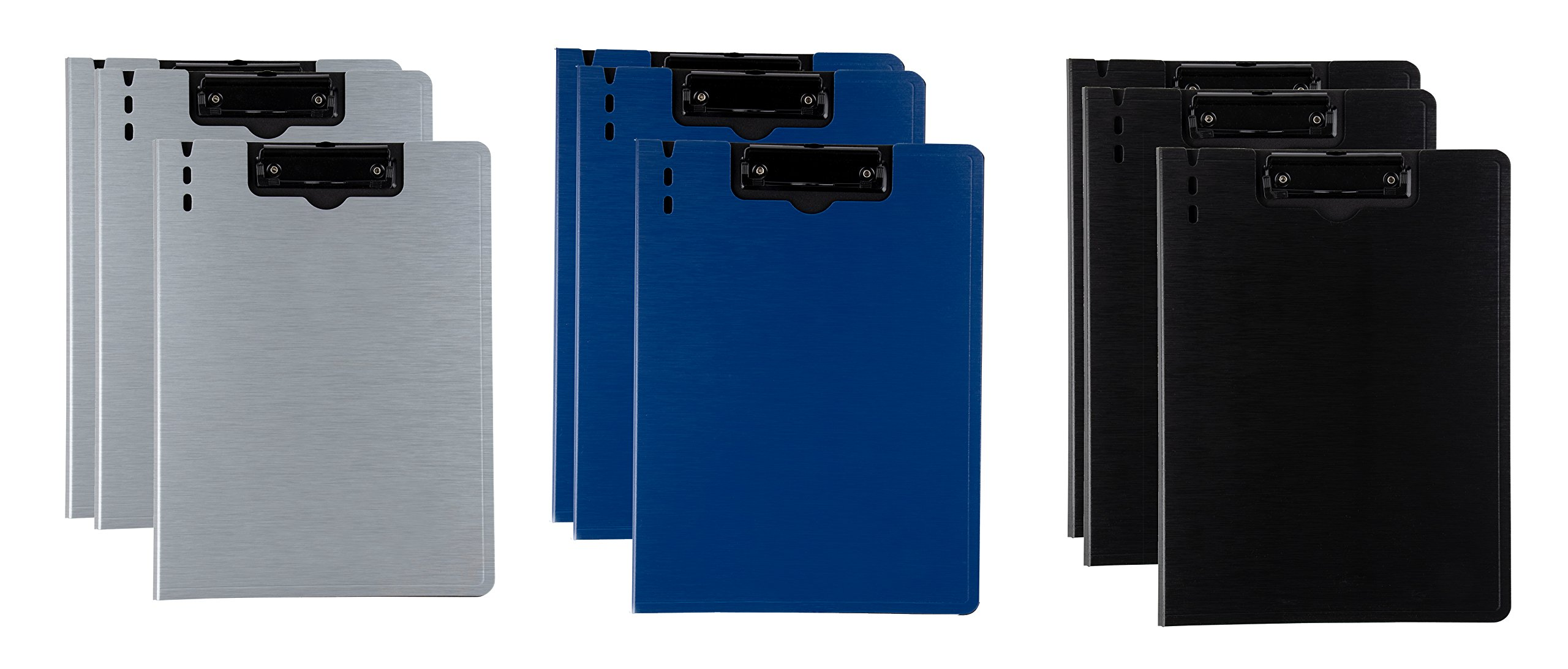 Letter Size Cover Folder Clipboard - 6-Pack 3 Assorted Colors Arch File Cover Folder Clipboards with Low Profile Clip, for Classroom and Office, Grey, Blue, Black, 9.3 x 12.6 inches