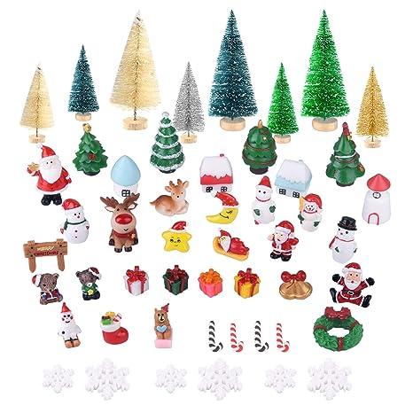 KUUQA 50 Jian Mini Ornamentos de Navidad, Mini Nieve sisal Helado del árbol de Navidad Botella de Resina árboles Cepillo y Santa Claus, muñeco de ...