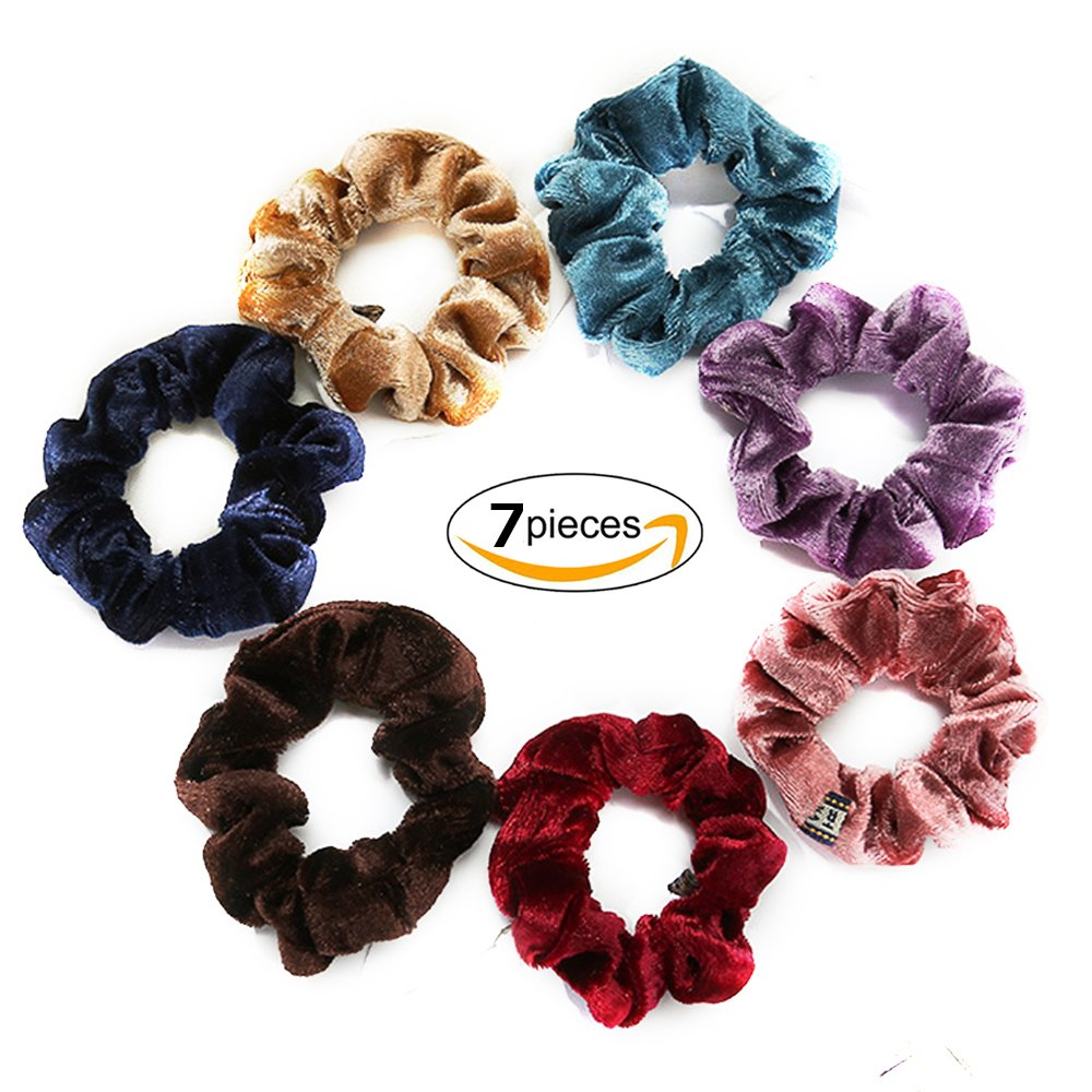 Scrunchies Elastic Velvet Flannelette Scrunchies Soft Satin Ponytail Holder Hair Ties 7pcs Ronoa