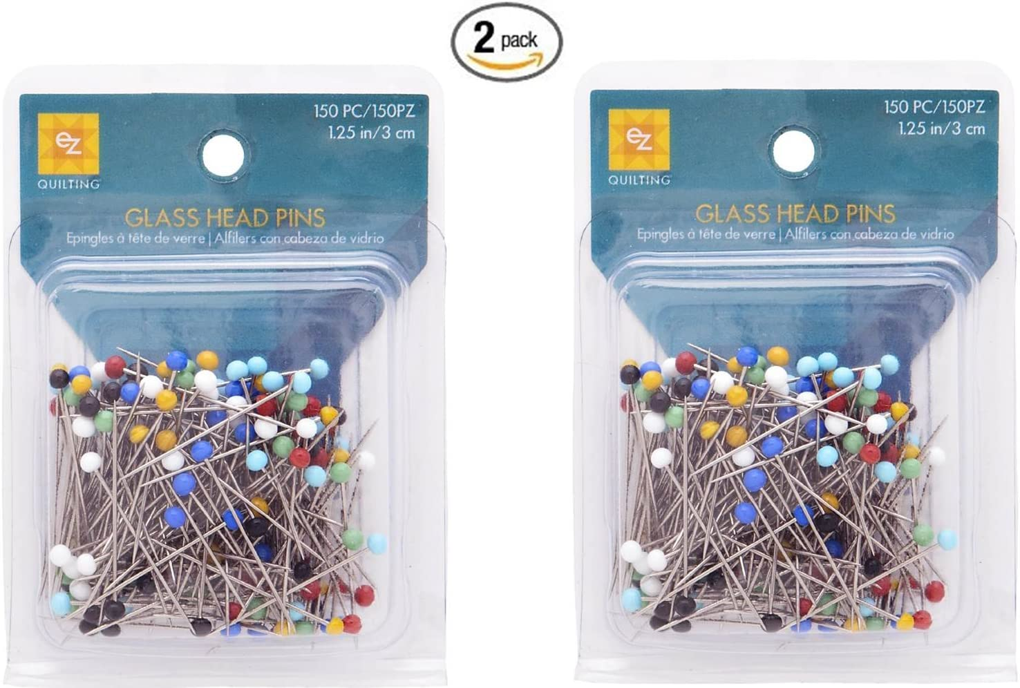 Wrights 881426 Glass Head Multicolor Pins Total of 300-piece 150-Pack