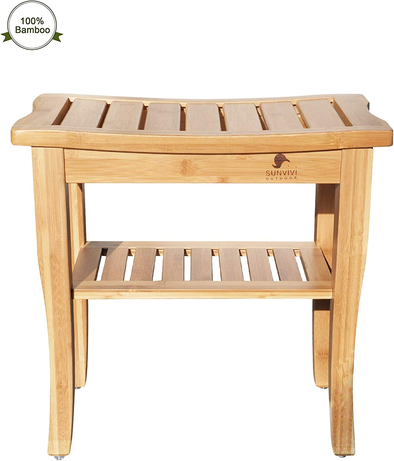 B07MF6XQMQ Ollypulse Bamboo Shower Bench, Spa Bath Seat Stool with 2-Tier Storage Shelf Wooden Shower Spa Chair Seat for Indoor Outdoor 71WOfJg4EgL.SL1500_