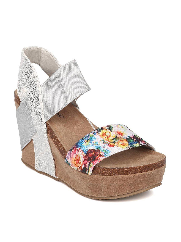 Heartthentic Tricia-10 Women Mixed Media Floral Platform Wedge Sandal HA98 B07122FHHK 11 M US|Silver Mix Media