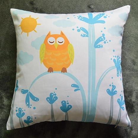 Molde cuadrado para Howarmer lona de algodón manta decorativa almohadas para sofá amarillo Diseño de búho