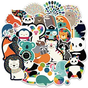Vsco Cute Hydroflask Stickers, Aesthetic Laptop Stickers for Water Bottle Skateboard Snowboard Bike Motorcycle Car Bumper, Waterproof Vinyl Decals for Children Girls Teens, 100Pcs Colorful Animals
