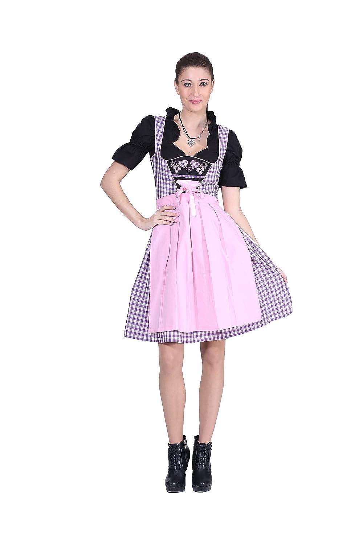 Oscartrachten, 3tlg. Dirndl-Set - Trachtenkleid, Bluse, Schürze - Dirndl midi lila-pink
