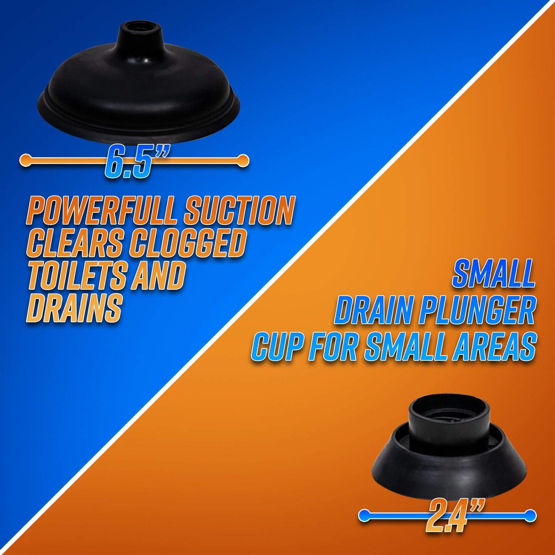 Haute Pression Convient Sure Support avec 2 ventouses pour Salle de Bain Toilettes Baignoire Douche Lavabo cococity D/éboucheur Ventouse Puissant en ABS