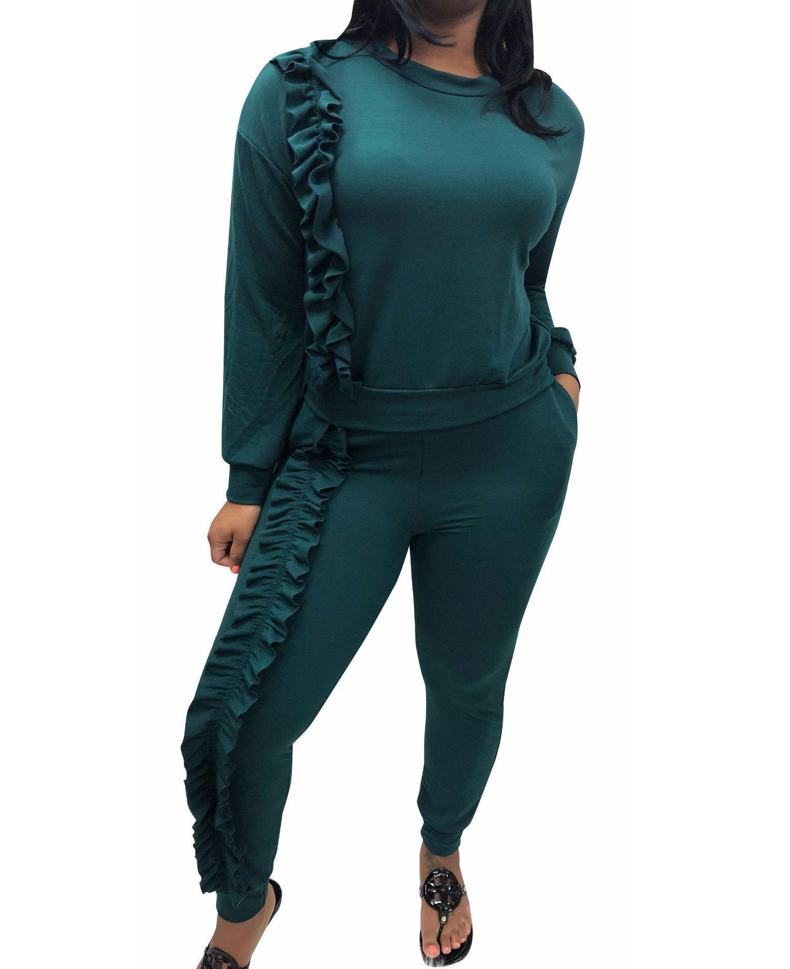Mojessy Women's Ruffled Outfits Long Sleeve Shirt + Pencil Pants Set Sweatsuits Tracksuits Clubwear XX-Large Dark Green