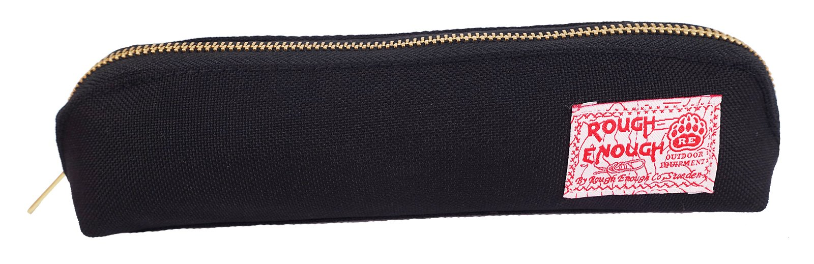 Rough Enough Multi-purpose CORDURA Polyester Long Slim Classic Portable Pencil Case Pouch Holder Organizer with YKK Gold Zipper for Stationary Cosmetics Accessories Kids Boys Students at Schools Black by ROUGH ENOUGH (Image #2)