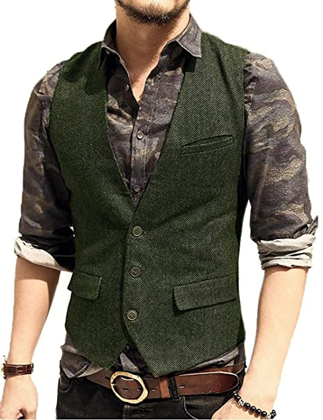 Amazon.com: Pretygril - Chaleco informal para hombre de lana ...