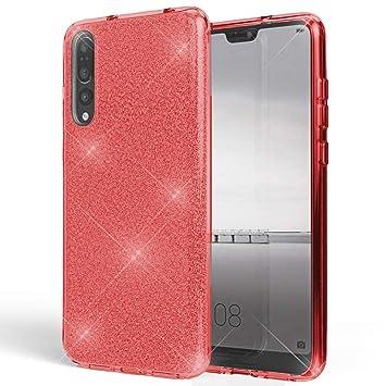 Coovertify Funda Purpurina Brillante Red Rose Huawei P20 Pro, Carcasa roja Resistente de Gel Silicona con Brillo Rojo Rosa para Huawei P20 Pro (6,1