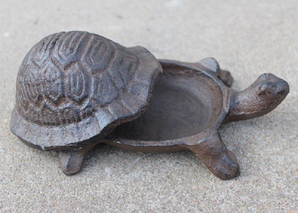 Greek Art Garden Decoration Turtle Cast Iron Key Hider Stone Diversion Safe Key Outside Hider Hide-A-Key Holder Safely Hiding your Spare Keys for Outdoor Garden or Yard Geocaching