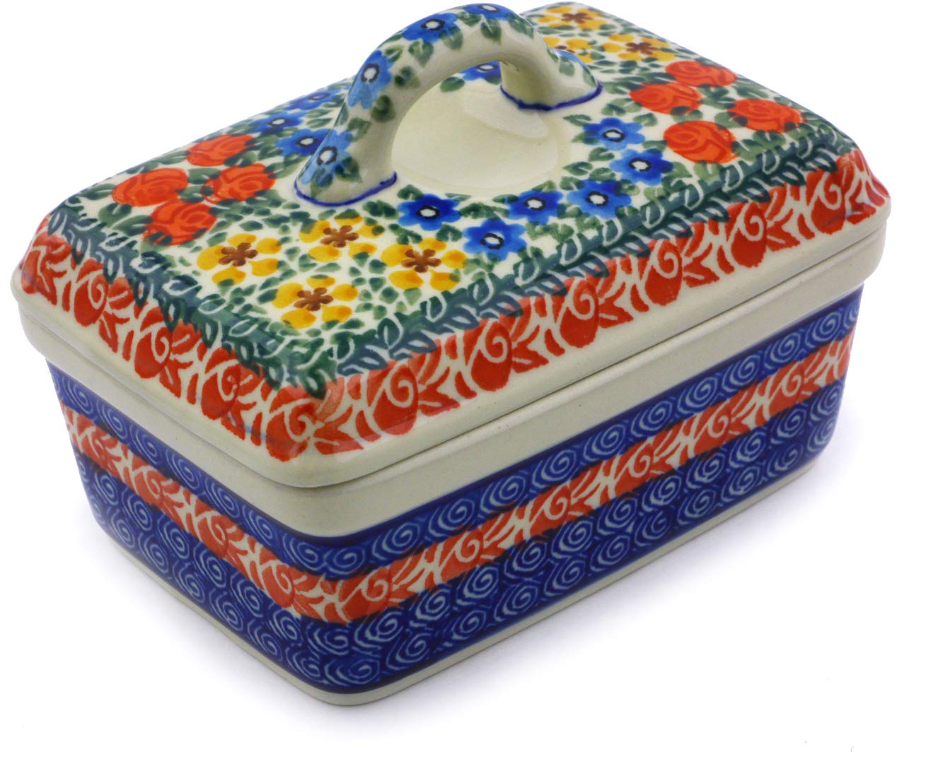 Polish Pottery 5½-inch Butter Dish made by Ceramika Artystyczna (Perennial Border Theme) Signature UNIKAT + Certificate of Authenticity