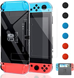 Dockable Cover Case for Nintendo Switch, FYOUNG Protective Case for Nintendo Switch with Screen Protector for Nintendo Switch - Crystal Clear