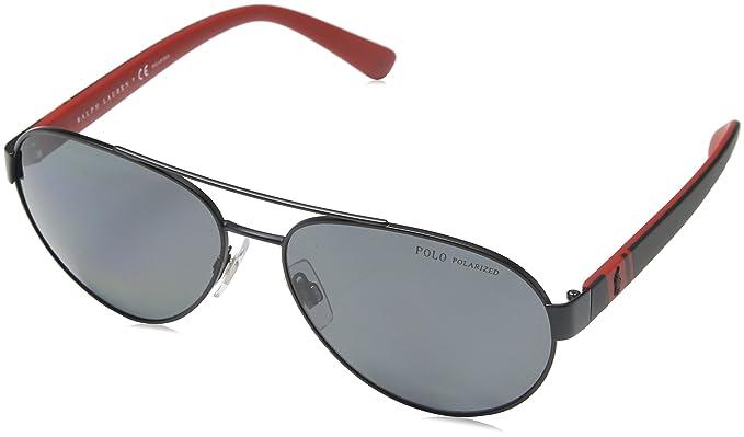 272daa80f440 Polo Ralph Lauren Men's 0ph3098 Polarized Aviator Sunglasses, Matte Black2,  ...