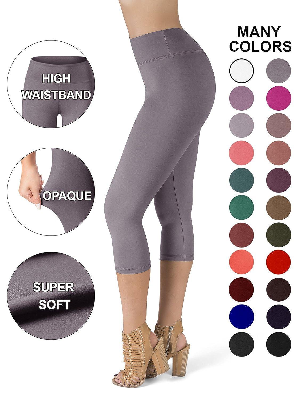 4ed4df5e07905 Sejora Satina High Waisted Super Soft Capri Leggings - 20 Colors - reg &  Plus Size - Gray - More Size: Amazon.co.uk: Clothing