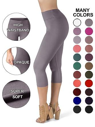 68e2f5d5cf3 Sejora Satina High Waisted Super Soft Capri Leggings - 20 Colors - reg   Plus  Size - Gray - More Size  Amazon.co.uk  Clothing