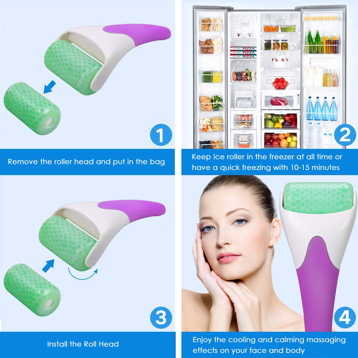 Ice Roller for Face & eye puffiness,Migraine,Redness,Sunburn,Pain Relief and Minor Injury,Skin Care and Massage Tool (Purple) by Joyaria (Image #4)