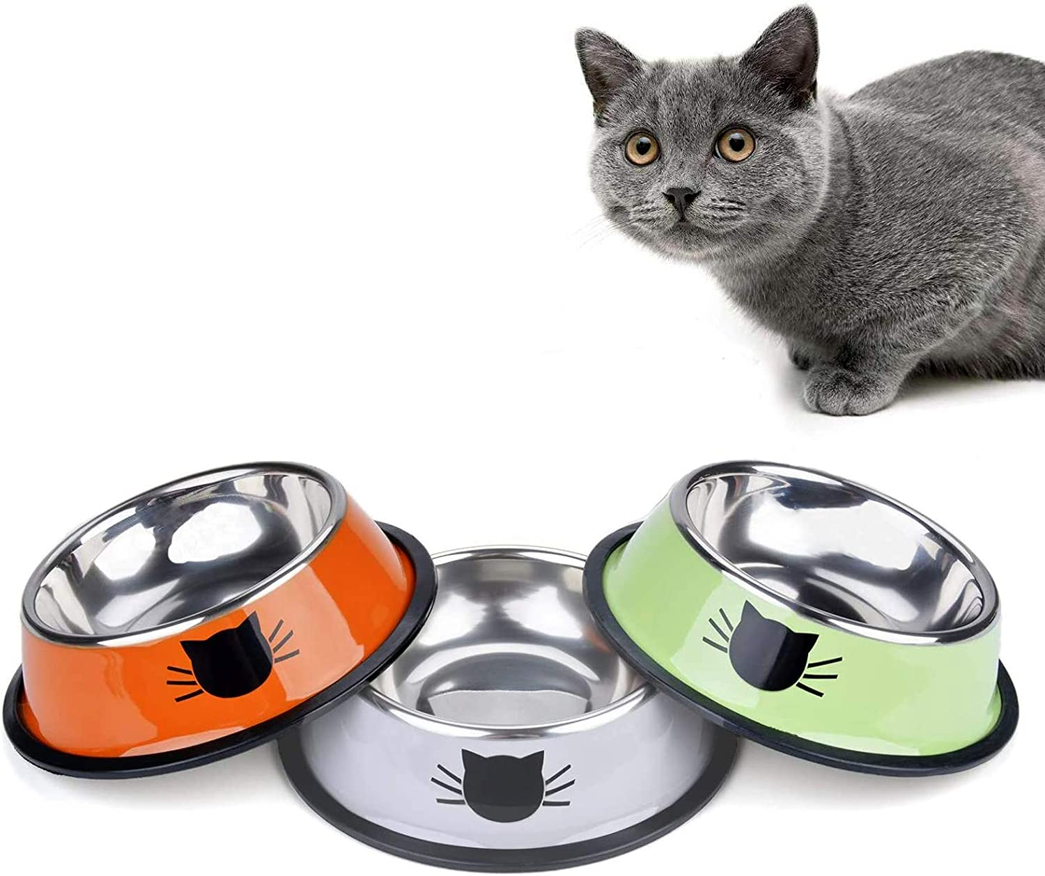 Kalimdor Cat Bowl Pet Bowl, Stainless Steel Cat Food Water Bowl with Non-Slip Stackable Pet Bowl for Cat, Kitten, Puppy, Small Dog (3 Pack - Grey & Green & Orange)