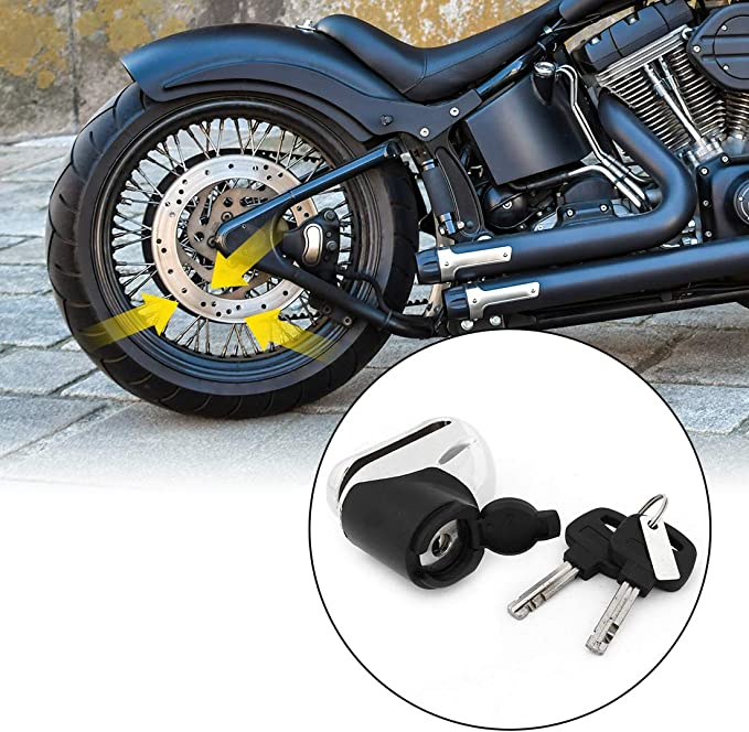 uxcell Silver Tone Motorcycle Scooter Anti-Theft Security Disc Wheel Lock with Keys