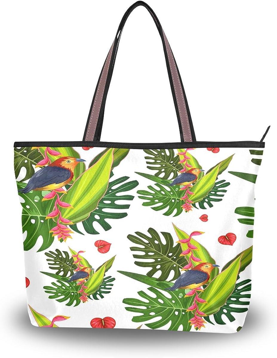 WIHVE Palm Leaves Flamingo Flower Womens Tote Bag Top Handle Satchel Handbags Shoulder Bags