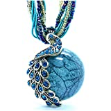 """Bohemia Cats Eys Opal National Personality Peacock Pendant Necklace for Woman Fashion Jewelry 18"""""""