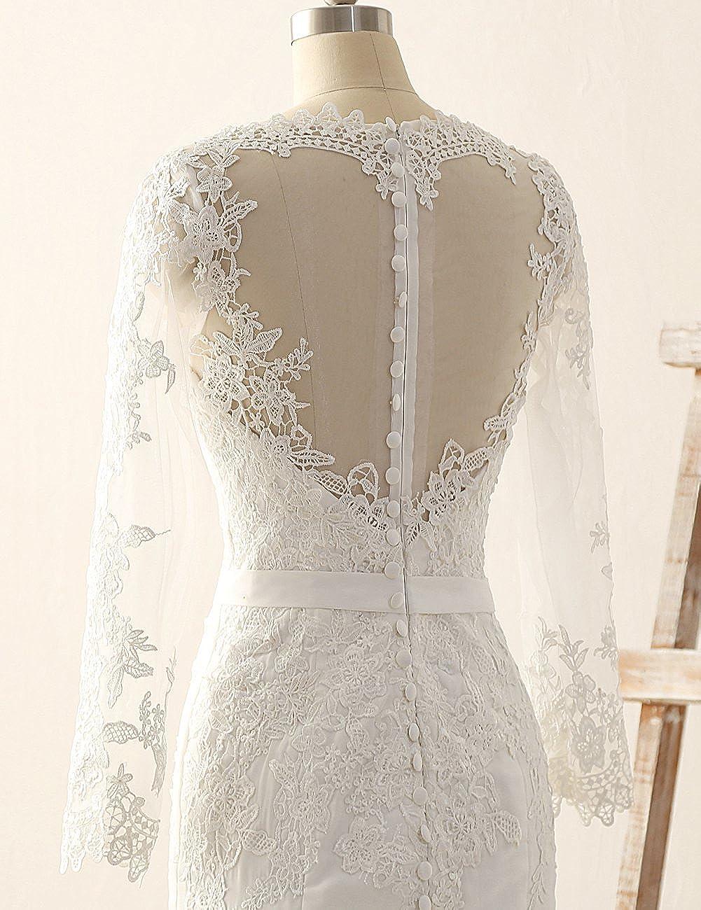 Wedding Dress Long Sleeves Mermaid Bridal Gown Lace Bride Dresses ...