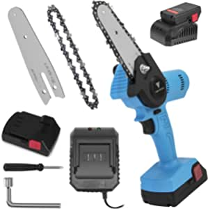 Mini Chainsaw Cordless Upgrade Electric Chain saw 4-Inch One-Hand Operated Portable Wood Saw for Tree Trimming and Branch Wood Cutting-Blue