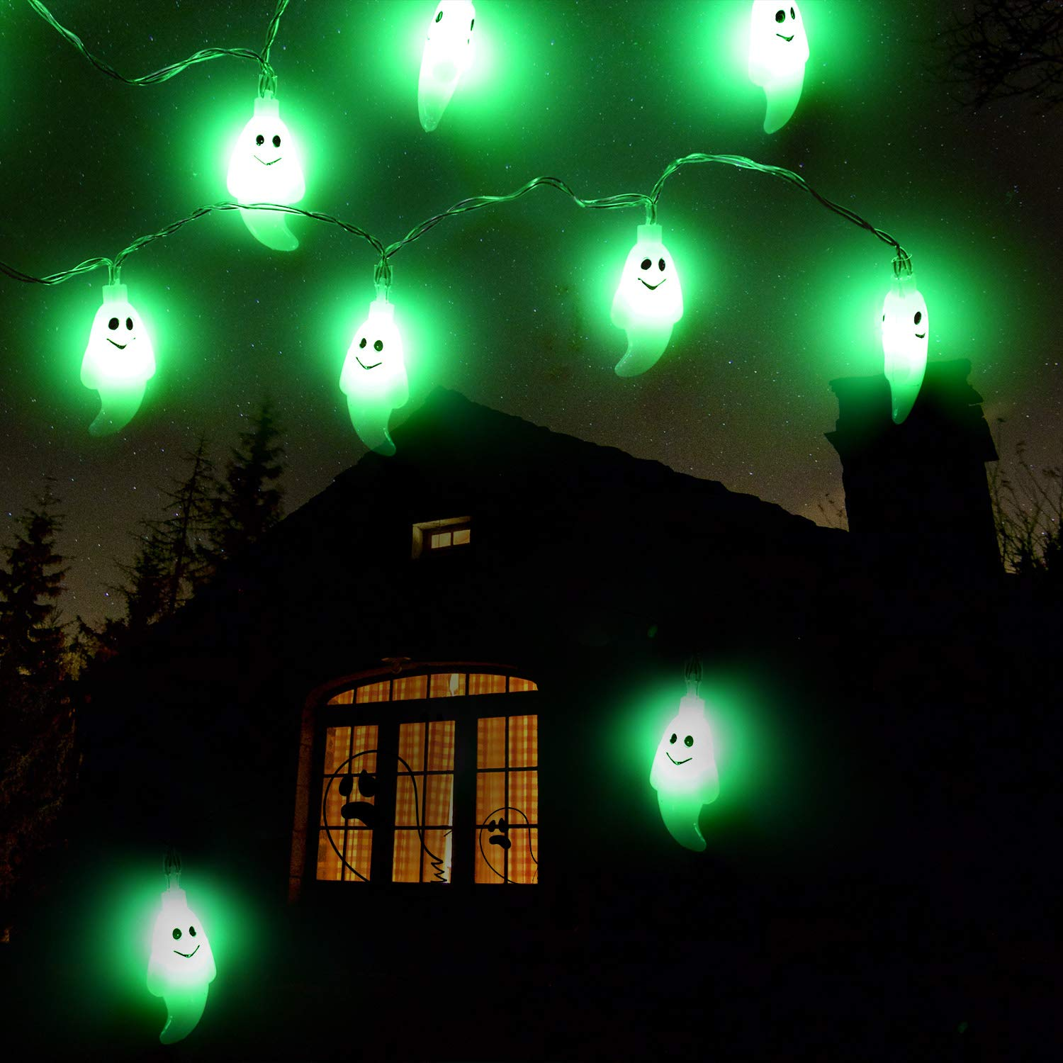 Indoor/Outdoor Halloween String Lights,Light up Halloween String Lights with Battery Operated,30 LED 10.8ft Holiday Lights for Halloween Party Decor,Dress up Your Home,Porch,Garden Or Yard.