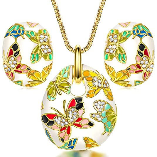 QIANSE Spring of Versailles Jewelry Sets for Women Vintage Enamel Butterfly Necklace Earrings Jewelry Set Christmas Jewelry Birthday Gifts for Women Gifts for Mom Grandma Girlfriend Wife Aunts