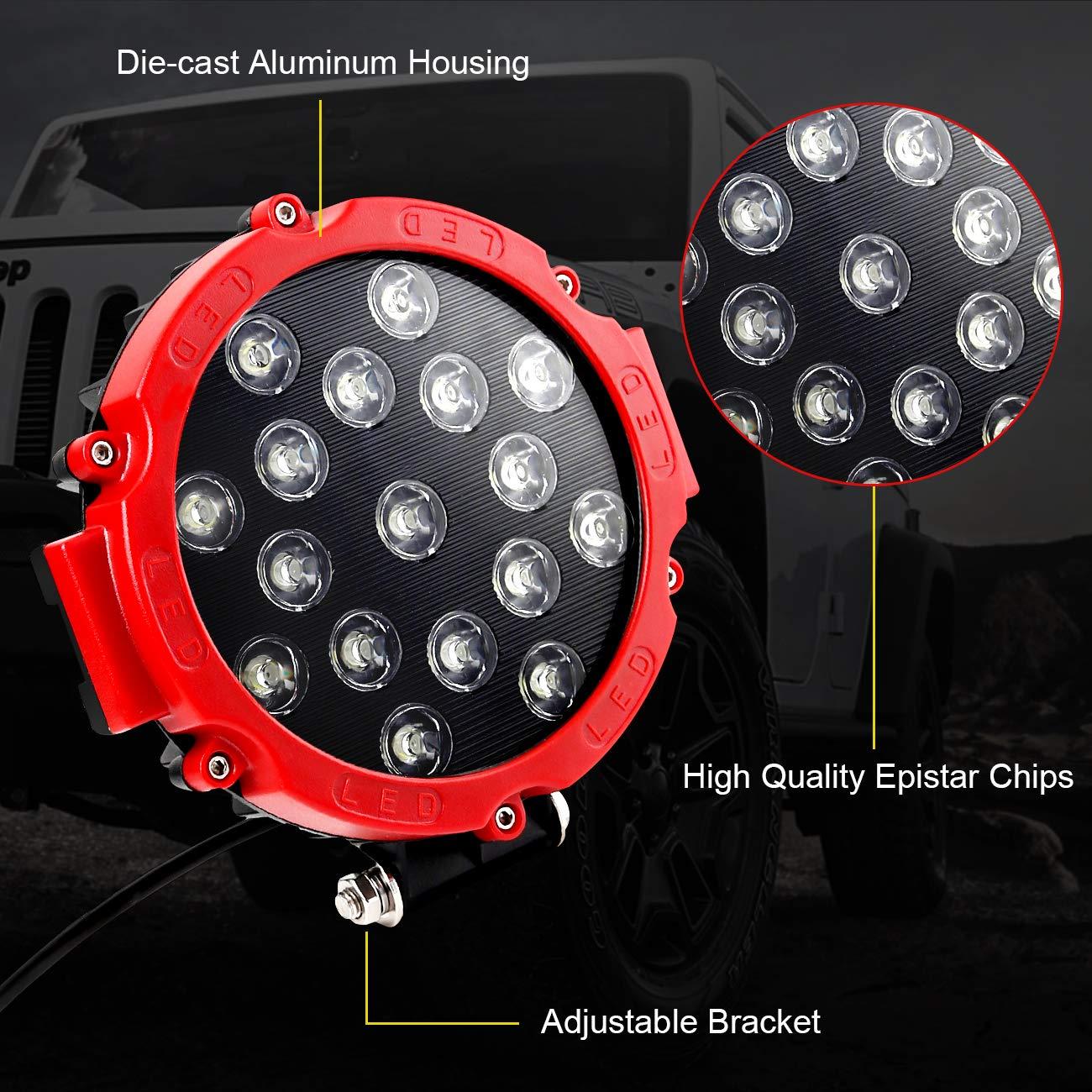LED Light Bar 51W 7inch Driving Light LED Pods Spot Beam Fog Light Offroad Super Bright LED Work Light for Truck Jeep ATV UTV SUV Boat 2 Years Warranty by HILLSKING
