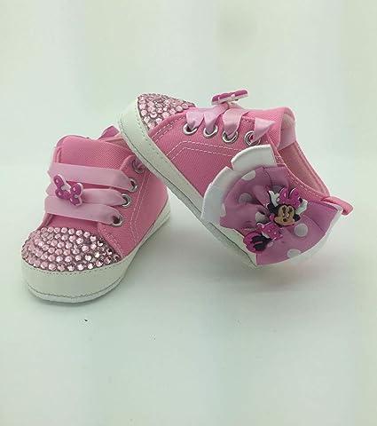 Personalizado para niña Minnie Mouse zapatos tamaño 3/6approx. para cuna cochecito de Campanilla