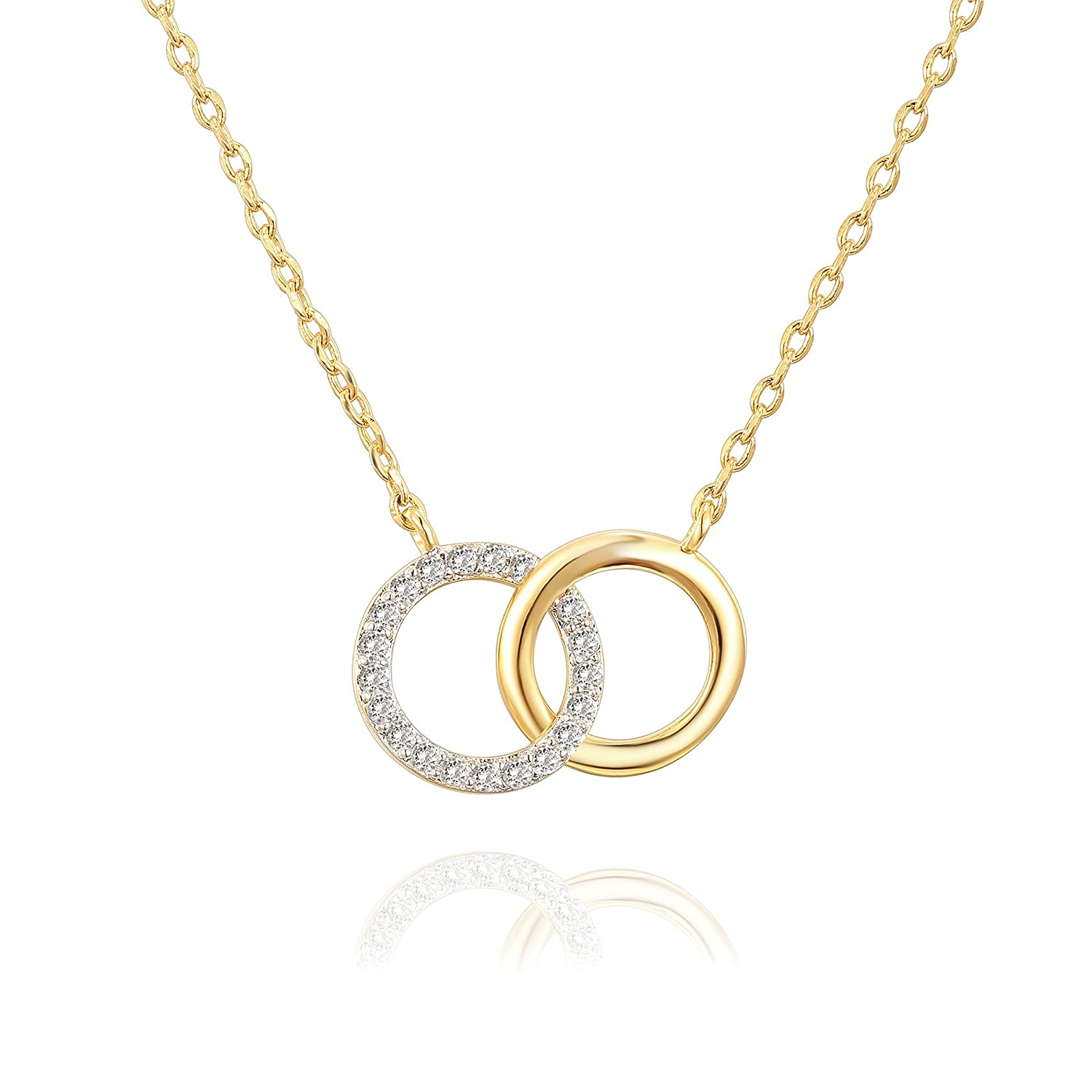 """14 K Gold Plated Mother Daughter Necklace Two Interlocking Circles Infinity Necklace   18"""" + 2"""" by Pavoi"""
