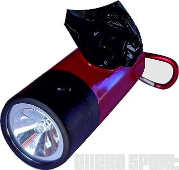 LINTERNA CON DISPENSADOR DE BOLSAS EKEKO(COLOR: ROJA), Linterna muy practica con un dispensador de bolsas y un mosqueton para un rapido enganche: Amazon.es: ...