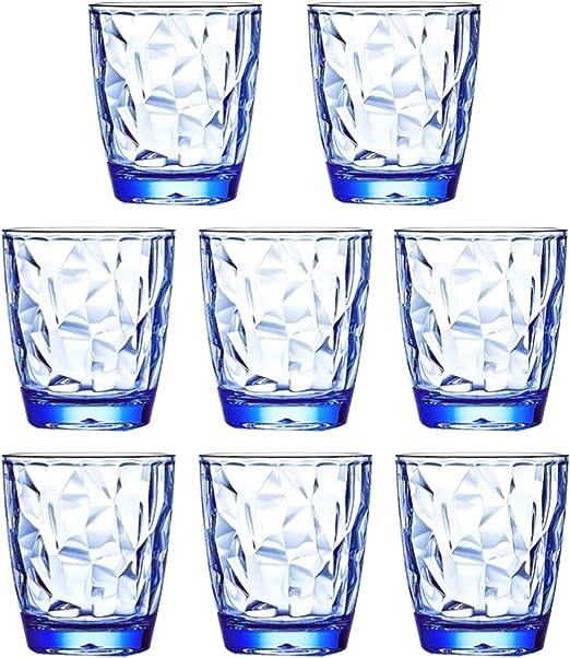 Amazon Com 10 Oz 8 Piece Premium Unbreakable Drinking Glasses Plastic Tumblers Dishwasher Safe Bpa Free Small Acrylic Juice Glasses For Kids Plastic Water Glasses Blue Tumblers Water Glasses