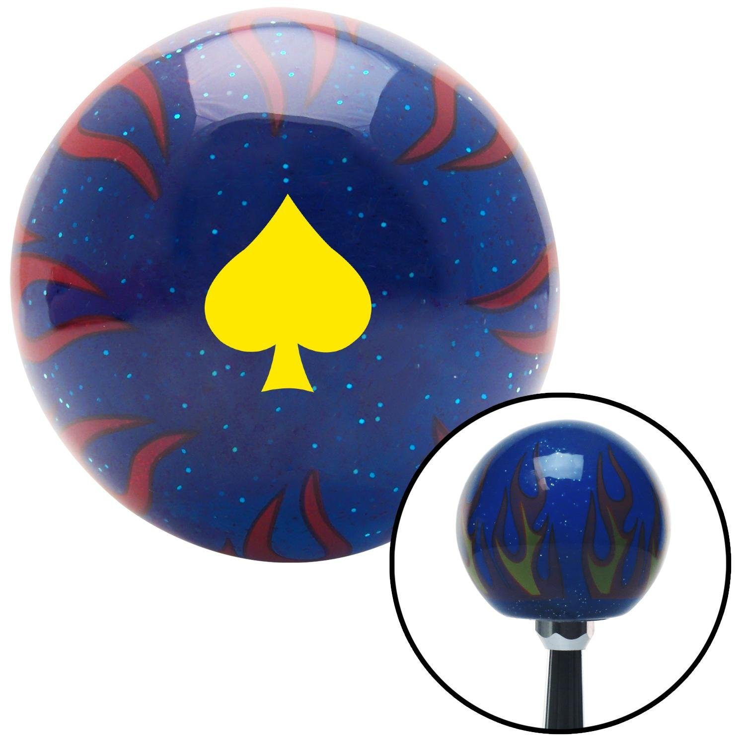 Yellow Spades Blue Flame Metal Flake with M16 x 1.5 Insert American Shifter 297702 Shift Knob