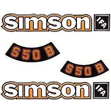 Aufkleber Sticker Set Simson S50b Gelb Alte Form Dunkel